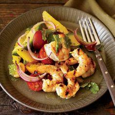 Grilled Shrimp with Avocado-and-Orange Salad