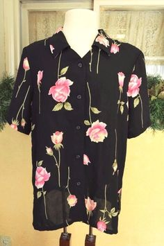 Womens 14 Sheer Blouse Top Black/Multi Floral Roses Short Sleeve Button Front #AlfredDunner #Blouse #Career