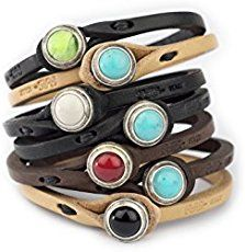 Tulsi Ginger Wrap Bracelet Genuine Italian Vegetable-Tanned Leather With Turquoise Stone Closure | Handmade In Italy - Simple Shopping Lifestyles