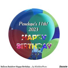 Balloon Rainbow Happy Birthday Name and Date Paper Plate $1.70 See our matching paper napkins and other party supplies in our store! Rainbow color balloons, blues and greens, with Iced Happy Birthday in Rainbow colors. Name and Date can be changed for your party! Balloons shot in a park outside against a blue sky. Natural shadows. Great design for young kid or coming out day! Visit our store for more rainbow friendly and Birthday designs! #Zazzle #Birthday #rainbow #HappyBirthday