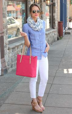 white pants and chambray shirt