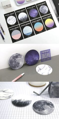Do you love something unique? Then you should check out this special Sticky Note! Write a short message for loved ones on the Galaxy! How about writing down your to-do list or wishlist on the surface of the Moon? You can do these awesome things with the Round Nature Sticky Note! The sticky note features 8 different unique designs you definitely love! You can use this beautiful sticky note for writing down notes and also for decorating notebooks, planners, letters, gifts and your place too!