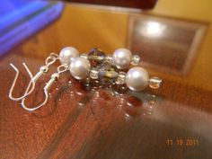 Light Gray and Smokey Faceted Glass beaded dangle by gr8byz, $9.00