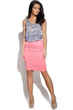 Make a graphic impression in this BYoung Striped Vest and Coral Pencil Skirt