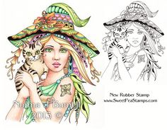 Griselda & Mr Binx - now available as a Rubber Stamp or Digi-Stamp. Fairy-Tangles™ by Norma J Burnell