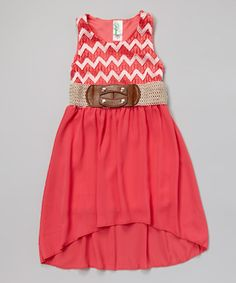 Coral Zigzag Belted Dress - Girls #zulily #ad *cute