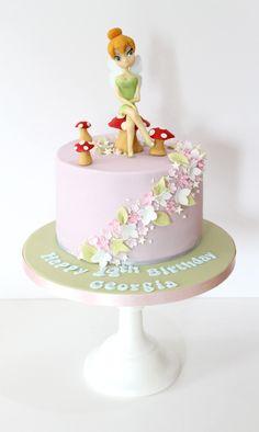 Tinkerbell Cake - Sweetie Darling CakesSweetie Darling Cakes - Felicity's Fairy Party - Tinkerbell Birthday Cakes, Fairy Birthday Cake, 4th Birthday Cakes, Birthday Ideas, Zoe Cake, Toadstool Cake, Fantasy Cake, Fairy Cakes, Disney Cakes