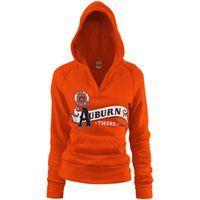 ::I want!::  Auburn Tigers Ladies Orange Rugby Distressed Deep V-neck Hoodie Sweatshirt