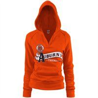 ::I want!::  Auburn Tigers Ladies Orange Rugby Distressed Deep V-neck Hoodie Sweatshirt