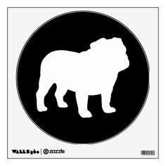 White Bulldog Silhouette on Black - Customizable Wall Graphics