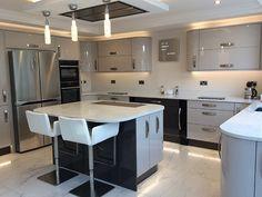 Gloss slab kitchen in Lancashire