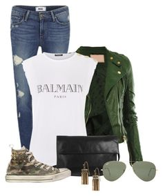 """Sin título #1713"" by loveisforgirls ❤ liked on Polyvore featuring Paige Denim, Balmain, Oasis, Converse, Banana Republic and Ray-Ban"