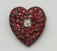 A 19th century spinel and diamond heart brooch antique jewelry x