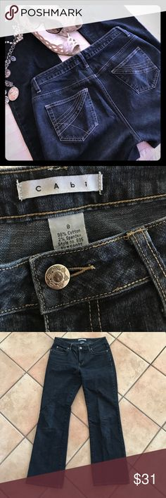 "CAbi Zdark Wash Stretch Boot Cut Jeans Oh YES please. CAbi Boot Cut jeans in a dark wash. Cute back pocket detail. Accent buttons and little wear. No holes, stains or snags. But a minor rub spot near right side of inner thigh near Rise, smaller than my pinky in last photo. 31"" Inseam. Size 8. Please let me know if you have any questions. Buy 2+ Save 10% in my closet. Thx so much for looking! CAbi Jeans Boot Cut"