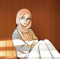 Pin Image by Girlnesia Cartoon Kunst, Cartoon Art, Cartoon Wallpaper, Of Wallpaper, Art And Illustration, Tmblr Girl, Mini Mundo, Hijab Drawing, Islamic Cartoon
