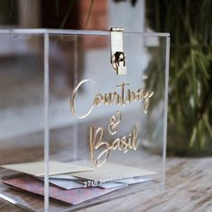 When Courtney married Basil ❤ Our Clear Acrylic Wishing Well with Gold Mirror Acrylic names speaks for its self at this stunning wedding styled by Touch base with our team today to start building your own! Money Box Wedding, Card Box Wedding, Wedding Wishes, Diy Wedding, Wedding Gifts, Wedding Ideas, Wishing Well Wedding, Acrylic Box, Clear Acrylic
