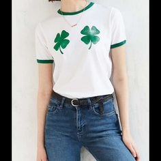 """NWT Shamrock T from Urban Outfitters☘ Brand new Kelly green ringer t with two. Lightly distressed graphic creates a vintage look.  Made of Cotton.  machine wash.        Chest is 33"""". Length is 22"""" Urban Outfitters Tops Tees - Short Sleeve"""