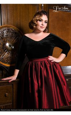 Pinup Couture - Lolita Top in Black Velvet - Plus Size | Pinup Girl Clothing