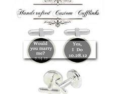 marry me I do men Cufflinks groom groomsmen custom Wedding engagement date Anniversary birthday graduation husband fiancée gift cuff link