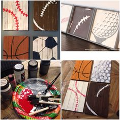 Looked for vintage or rustic sports prints for our nursery on Etsy. First picture was my inspiration for my project. I bought chalk paint and these wood pallets from Michael's. Since my husband loves golf, I switched out the soccer ball for a golf ball. I had to look at a few prints and paintings of golf balls to try to imitate that look on my pallet painting.