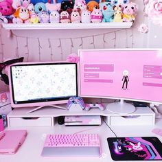 Other beautiful kawaii gaming rooms!😍 Soon I can show you my gaming room. 🙏🏻💖 I'm looking forward to… Girly Games, Pink Games, Cute Games, My New Room, My Room, Girl Room, Gaming Room Setup, Pc Setup, Gaming Rooms