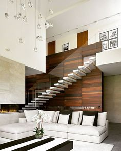 Ideas For Modern Stairs Glass Living Rooms Stair Railing Design, Home Stairs Design, Stair Decor, Interior Stairs, Modern Stairs Design, Cantilever Stairs, Escalier Design, Bungalow House Design, House Stairs