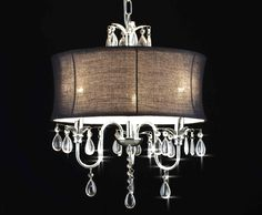 A7-BLACK/834/3 Chandeliers with Shades Crystal Chandelier With Large Black Shade  http://www.gallery74.com/ProductDetail