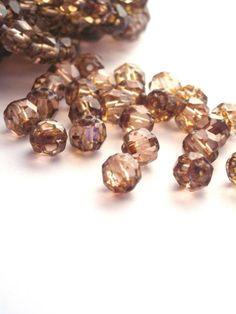 25  6mm Czech Glass Pink Topaz Luster Renaissance beads