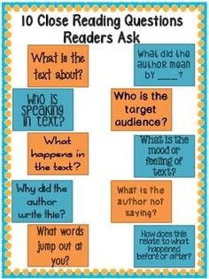 10 Close Reading Questions all Readers Should Be Asking Anchor Charts 10 Questions related to close reading strategies for your classroom! Whole group, small group or guided reading ready. Close Reading Lessons, Close Reading Strategies, Reading Resources, Reading Skills, Reading Comprehension Strategies, Reading Fluency, Guided Reading, Teaching Reading, Reading Anchor Charts