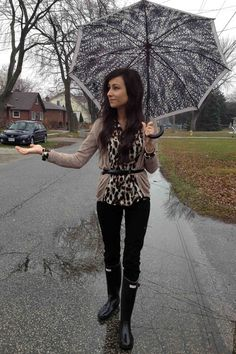 """"""" Guess collared button-down blouse, a Jessica Simpson braided belt, a Club Monaco chevron bracelet, Joe Fresh cardigan and pants, and Hunter rain boots. Rainy Outfit, Cute Rainy Day Outfits, Rainy Day Outfit For Work, Outfit Of The Day, Outfits Casual, Style Outfits, Cute Outfits, New York Fashion, Athleisure"""