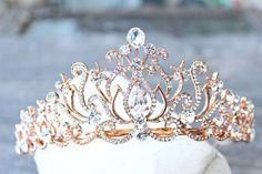 Bridal Tiara Crystal Rose Gold Tiara  CAROLINE Swarovski