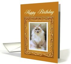 Happy Birthday, Ragdoll Cat Portrait Gold Masterpiece card