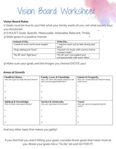 Vision Board Worksheet to organize your goals and dreams! Vision Board Worksheet to organize your goals and dreams! Coaching, Goal Board, Creating A Vision Board, Goal Planning, Self Discovery, Therapy Activities, Motivation, Art Therapy, Self Development