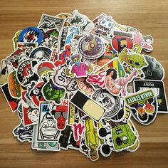 100 Pcs Sticker Snowboard Car Styling Sleigh Luggage Fridge Toy Mixed Funny Cartoon Decal Home decor DIY Cool Stickers kid's Toy Cheap Wall Stickers, Kids Stickers, Auto Styling, Graffiti, Trolley Case, Sticker Bomb, Create Words, Aesthetic Stickers, Fairy Dolls