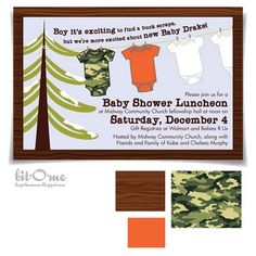 Camo baby shower invitation idea  www.SpecialBabyShowerGifts.com