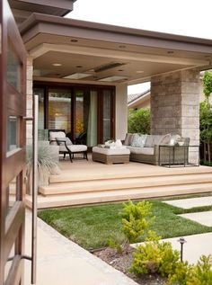 A patio area or a luxury outdoor living room? When you're admiring the work of a woman designer, it's difficult to tell the difference. DM for 📷 credit Bungalow House Design, House Front Design, Modern House Design, House Design Photos, Patio Design, Exterior Design, Dream House Exterior, House Entrance, Facade House