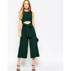 2611d4e7f530 ASOS Culotte Jumpsuit with Cut Out Front ( 112) ❤ liked on Polyvore  featuring jumpsuits