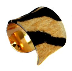 Tiger Stripe Pony Hair Gold Lined Cuff Bracelet by by UNEARTHED