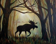 Moose Art Moose Painting Bull Moose Decor by LeslieAllenFineArt Pine Tree Silhouette, Silhouette Painting, Bull Moose, Moose Art, Deer Art, Moose Decor, Nursery Paintings, Paint And Sip, Reno