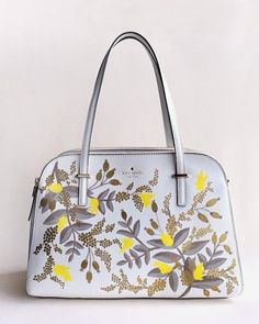 Floral Hand-painted leather bag - Kate Spade bag - Anna Bond stationary designer @annariflebond