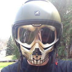 skull facemask with shark raw helmet