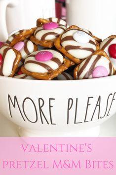 Valentine's Pretzel M&M Bites - Leah With Love