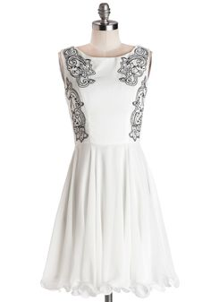 Fancy Prance Dress. When your darling told you that part of tonight's plans would involve a horse-drawn ride through the park, you had to don your fanciest frock by Chi Chi London for the occasion! #white #modcloth