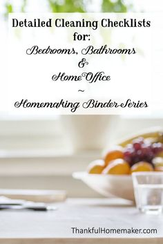 Homemaking Binder Series - Detailed Cleaning Checklists for: Bedrooms, Bathrooms & Home Office.  @mferrell