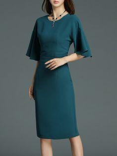 Shop Midi Dresses - Sheath Elegant Plain 3/4 Sleeve Ruffled Midi Dress online. Discover unique designers fashion at StyleWe.com.