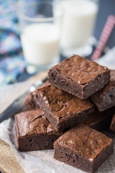 Simply Perfect Brownies from Scratch: The fudgiest, gooiest brownies, with the deepest, darkest, most intense chocolate flavor EVER! From scratch, pantry staples, just one bowl, no mixer needed.  food desserts chocolate