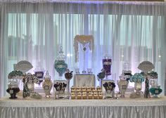 Lakeisha and Karl Candy Buffet - dressydesigns Elegant Candy Buffet, Candy Buffet Tables, Dessert Buffet, Candy Table, Candy Themed Party, Party Themes, Candy Trees, Candy Display, Popcorn Bar