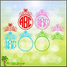 Tiara Set Monogram Base Design Digital Clipart and Cut File Instant Download SVG, DXF, EPS and Jpeg Files - pinned by pin4etsy.com