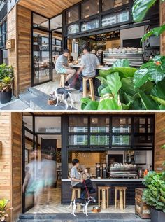 This new coffee shop in Hong Kong is designed to interact with the street : The entrance of this cafe has been pushed back almost 4 feet to allow for an outdoor coffee bar and to give it an al-fresco atmosphere. Cozy Coffee Shop, Small Coffee Shop, Coffee Shop Design, Coffee Cafe, Street Coffee, Rustic Coffee Shop, Coffee Shop Names, Italy Coffee, Coffee Store