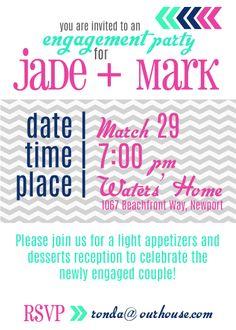 engagement party invitation {chevron}   www.therefurbishedlife.com